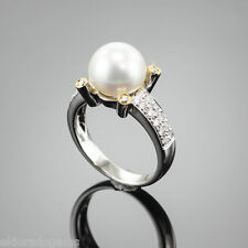 HIGH END 10.5 MM SOUTH SEA PEARL & 0.85 CT. DIAMOND RING 18K WHITE GOLD US6.5