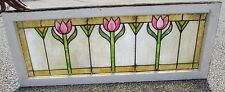 FINE ANTIQUE ARTS & CRAFTS STAINED GLASS TULIP DESIGN TRANSOM WINDOW ESTATE #590