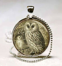 Vintage Owl Cabochon Silver plated Glass with Ball Chain Pendant Necklace new