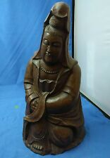 "13"" Old Antique Chinese Carved Bamboo Queen Mother Lady Statue"