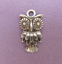 15 x Tibetan Style Antique Silver Coloured Owl Charm Beads - 20mm