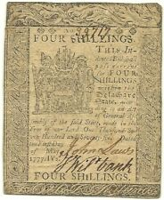 1777 Delaware 4 Shillings Colonial Currency Note - Nice Sharp Extremely Fine