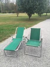 VINTAGE CAMP Lounge CHAIR & Lawn Chair Green CANVAS 1960's-1970's RETRO