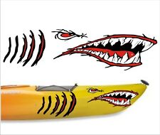 SHARK TEETH MOUTH DECAL gill slits STICKERS KAYAK CANOE HOBIE DAGGER OCEAN boat