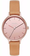 Skagen SKW2412 Women's Anita Rose Gold Tone Mirror Dial Brown Leather Band Watch