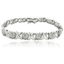 0.50Ct TDW Diamond X & Heart Bracelet