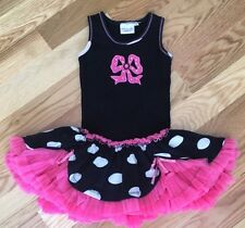 EUC Ooh La La Couture Pink Black & White Polka Dot Bow Tutu Tulle Dress, Sz 4