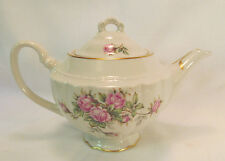 Vogue Fine China SOUTHERN ROSE Tea Pot with Lid Gold Trim