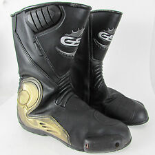 GSB LEATHER MOTORCYCLE BOOTS Size 44 UK 10 SPORT RACE WATERPROOF ARMOUR