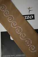ALL SIZES OVER THE BOOT ICE SKATING TIGHTS WITH 25CM CRYSTAL MOTIF TAN OR BLACK
