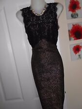 **STUNNING** NEW LOOK SIZE 12 BLACK GOLD GLITTER BODYCON DRESS *FAST POSTAGE*