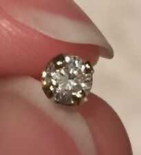 14K Yellow Gold 3.5mm Single Diamond Solitaire Earring Stud SI1 / G