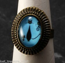LTV Creation Ring Kitty Cat Blue Glass Cabochon Top Brass Metal Jewelry