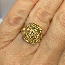 Vintage 14k Yellow Gold Filigree Diamond Cut Artisan Bali Cocktail Band Ring 6