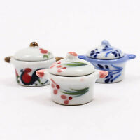 Chic Pot W/ Lid Cooking 25x35mm Dollhouse Miniature Ceramic Food Supply A1179