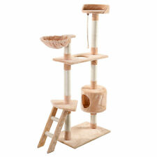"60"" Cat Tree Tower Condo Scratcher Furniture Kitten Pet House Hammock Beige"