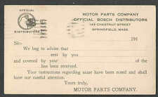 1924 PC SPRINGFIELD MA MOTOR PARTS CO SELLS BOSCH AUTO PARTS