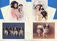 JAPANESE CHIN PACK OF 4 VINTAGE STYLE DOG PRINT GREETINGS NOTE CARDS #4