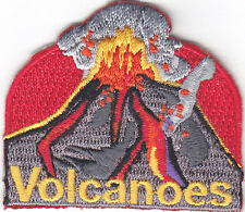 """VOLCANOES"" Iron On Embroidered Applique Patch /Nature, Earth, Words"
