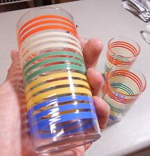 6 RARE Vintage Anchor Hocking Tumblers Colored Stripes Ring Mint Condition 4 3/4