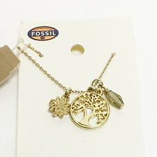 NEW FOSSIL GOLD TONE,TREE OF LIFE,COIN FLOWER,CRYSTAL,CHAIN NECKLACE-JA5721715