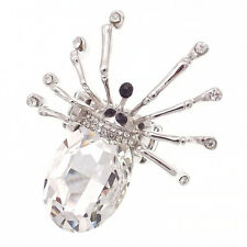 Spider Halloween Cocktail Finger Ring Costume Jewelry Rhinestone Clear Silver 2""