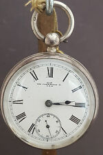 ANTIQUE 1890 WALTHAM FARRINGDON - SOLID SILVER POCKET WATCH - WORKING W/ KEY