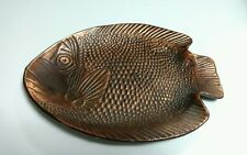 """Vintage 1991 Copper Wash on Cast Iron 10"""" Fish Plate Decor Serving Dish Taiwan"""