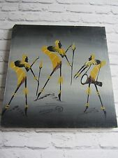 Mid century signed retro African painted canvas painting 50s 60s yellow grey