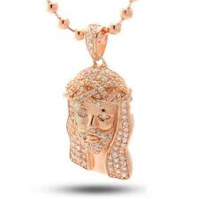 King Ice Micro Jesus Piece 14K Rose Gold Plated Pendant with CZ Necklace