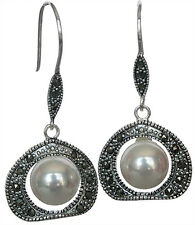 10mm White Shell Pearl Marcasite 925 Sterling Silver Dangle Earring Jewelry