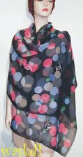 "CHANEL navy CC Logos BUBBLES Large silk Georgette 25x70"" Shawl scarf NEW Authent"