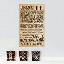 This is your life Wall POSTER Home Decor GICLEE Art CANVAS Lettering Words Quote
