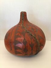 Vintage African Kenyan Large Hand Carved Water Calabash Gourd Animals Fork Art