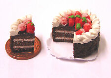 1:12 Sliced Cake With Strawberries Dolls House Miniature Kitchen Accessory SC17