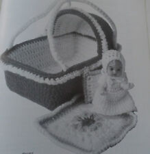 "SWEET TOY 4.5""  BABY DOLLS CROCHET PATTERNS DRESS - OUTFIT - CARRY BASKET"