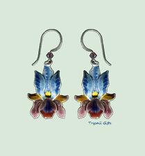 BEARDED IRIS Cloisonne Flower EARRINGS by Bamboo Jewelry STERLING Silver - Box