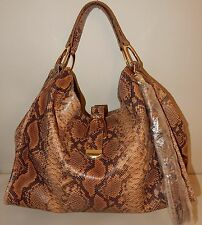 G.I.L.I. Large Italian Leather Stirrup Hobo Bag in Brown Snake