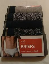 "nwt MARKS & SPENCER 4 PACK FLY FRONT COTTON BRIEFS SMALL W30/32"" GREY NAVY PRINT"