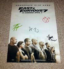 "FURIOUS 7 CAST X4 PP SIGNED 12""X8"" PHOTO POSTER FAST N AND VIN DIESEL STATHAM"