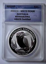 2012-P $1 ANACS MS-70 DCAM AUSTRALIA KOOKABURRA, 1OZ .999 FINE SILVER COIN