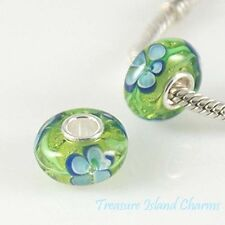 FORGET-ME-NOT FLOWER MURANO GLASS .925 Sterling Silver EUROPEAN Bead Charm