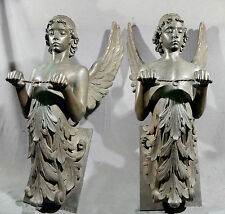 "PAIR OF ANGELIC WALL BRONZES SIGNED PASQUALE CIVILETTI H 33"" W 15"" DEEP"