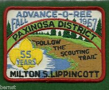 BOY SCOUT PATCH 1967 PAXINOSA DISTRICT ADVANCE-O-REE - FORKS OF DELAWARE COUNCIL