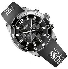 Genuine Hugo Boss Men's Watch 1512868 Cinturino in Silicone Nero in scatola