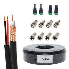 50m Black RG59 Coax Siamese CCTV BNC DC Camera DVR Security Cable