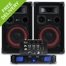 "2x Skytec 8"" PA Party Speakers + Amplifier + DJ Mixer + Cables Disco System 500W"