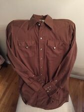 Rockmount Ranch Wear Mens M Brown Fitted Western Shirt Pearl Snaps Made in USA