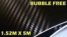 3D CARBON FIBRE BUBBLE FREE VINYL ROLL FULL CAR WRAP 1.52M X 5M BLACK