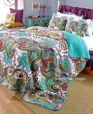 100% COTTON PAISLEY 3pc King QUILT SET : TEAL GREEN MODERN CONTEMPORARY NIRVANA